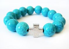 DO I HAVE A CTR PC LIKE THIS??? Simulated Turquoise Cross Beaded Bracelet