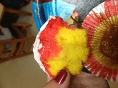 Inside of iron man cupcakes