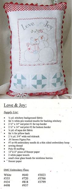 christmas stitchery patterns | Christmas/Winter/Snowman Embroidery Patterns - Erica's Craft & Sewing ...