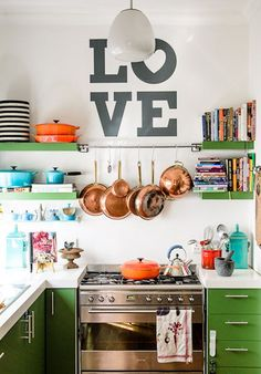 Open shelving and pops of colour