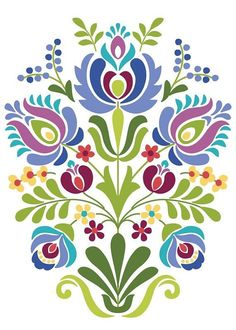 computer Folk Embroidery Patterns Hungarian Folk Art Blue and Purple Flowers - Hungarian Folk Art Print This is an image created in Adobe Illustrator and inspired by the beautiful folk desig Hungarian Embroidery, Folk Embroidery, Learn Embroidery, Embroidery Patterns, Indian Embroidery, Hungarian Tattoo, Embroidery Online, Embroidery Tattoo, Folk Art Flowers