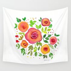 Bright Flowers Floral Bouquet - Watercolor Painting Wall Tapestry by art-by-lang Bright Flowers, Floral Bouquets, Watercolor Paintings, Tapestry, Throw Pillows, Friends, Home Decor, Art, Glitter Flowers