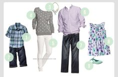 Great spring/summer family photo shoot outfit ideas.  Color scheme.