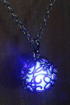 Blue Glowing Orb Pendant Necklace Locket Gun Metal Black
