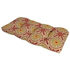 Sicily Mosaic Chili Pepper Outdoor Settee Cushion (Red - Rectangle - Polyester), Outdoor Cushion