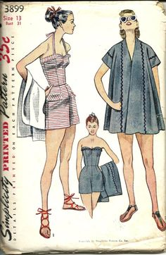 1952 Simplicity 3899 Junior Misses and Misses Bathing Suit and Beach Coat Pattern, Size 13, Bust 31