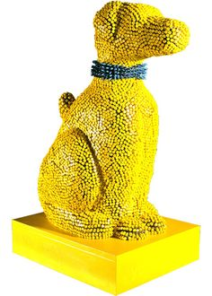 Crayon Dog Sculpture ~ Made of yellow and blue crayons, wood and epoxy resin.