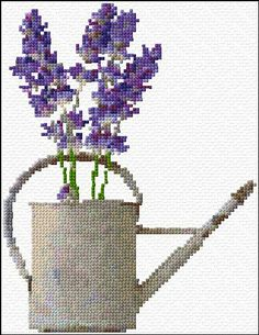 Lavender in water can cross stitch pattern and color chart free download on www.cross-stitch-pattern.net. Many free downloads on this site!
