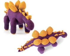 Free knitting pattern for Stegosaurus. Another knitted dinosaur toy designed by Tina Barrett is free pattern from her book Knitted Dinosaurs:15 Prehistoric Pals to Knit from Scratch.