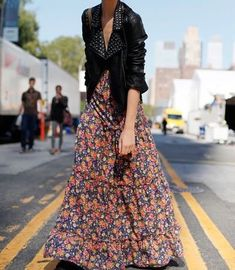 maxi floral with leather jacket Leather Jacket Dress, Leather Dresses, Studded Jacket, Leather Jackets, Moto Jacket, Leather Blazer, Mode Outfits, Fashion Outfits, Womens Fashion