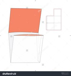 Square Double Pocket Envelope With Die Cut Layout Stock Vector Illustration 193228070 : Shutterstock