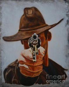 Shop for gun art from the world's greatest living artists. All gun artwork ships within 48 hours and includes a money-back guarantee. Choose your favorite gun designs and purchase them as wall art, home decor, phone cases, tote bags, and more! Cowboy Art, Cowboy And Cowgirl, Westerns, U2 Poster, Cowboy Pictures, Cowboys And Indians, Le Far West, Mountain Man, Old West