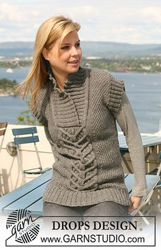 """Ravelry: 125-23 Jumper with short sleeves with cables and moss st in """"Nepal"""" pattern by DROPS design"""