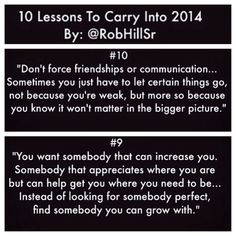 10 Lessons to Carry into 2014 (10 & 9) @RobHillSr
