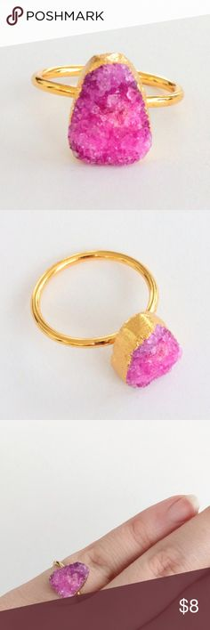 "Genuine druzy gold-plated solitaire ring True beauty in simplicity!  Genuine agate druzy crystals sparkle in this gold-plated stunner...an absolute must-see in person and in sunlight!  A subtle statement piece sure to attract loads of attention and compliments!  Nickel and lead free.  About a size 8.  PRICE IS FIRM and extremely reasonable, but click ""add to bundle"" to save 10% on your purchase of 2+ items! Jewelry Rings"