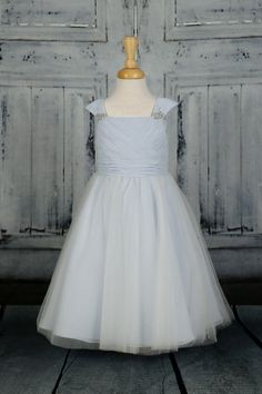 79211bcdf A gorgeous greacian style flower girl dress with pleated chiffon bodice, tulle  skirt and beading