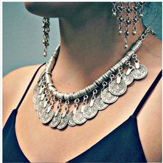 Silver Coin Necklace Gypsy Boho Turkish Coin Necklace- C1017