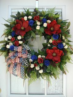 Hey, I found this really awesome Etsy listing at https://www.etsy.com/listing/533804049/large-patriotic-wreath-july-4th