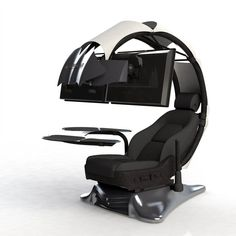 THE FUTURE OF COMPUTER WORKSTATIONS The Droian is the ultimate ergonomic computer workstation that provides a comfortable, immersive, and aesthetically unique environment for users who spend many hours in front of their computers. Ergonomic Computer Workstation, Gaming Computer Setup, Computer Station, Gaming Room Setup, Computer Rooms, Computer Gadgets, Computer Build, Gaming Pcs, Computer Programming