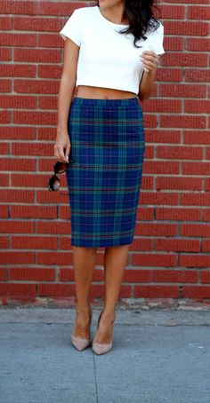 fall must-have: plaid pencil skirt // #targetsgoneglam #targetstyle