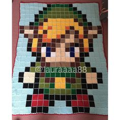 Link (Legend of Zelda) crochet pixel blanket  by lauraaaa88