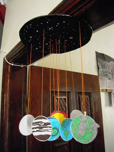 Outer Space theme unit: solar system mobile. Great way to cross program and tie art into science!