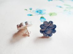 FREE SHIPPING Wood stud earrings with blue waves