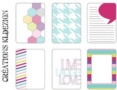 Printables -- Live Laugh Love Journal Cards  from KLdezign {French blog - Enlarge image and right click to save file}
