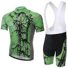 Men's Green Bamboo Short Sleeve Cycling Jersey Set #Cycling #CyclingGear #CyclingJersey #CyclingJerseySet