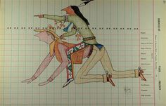 Contemporary ledger art by Sioux artist Dwayne Wilcox. This guy is pure genius, IMO. Incredibly wry wit.