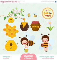 Honey Bee Digital Clipart