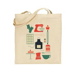 Cotton Tote Bag Baking Red and Green by AlicePotter on Etsy, £10.00