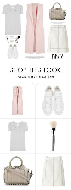"""""""White sneakers - Polyvore contest ♥"""" by yexyka ❤ liked on Polyvore featuring New Look, Alexander McQueen, Velvet, Bobbi Brown Cosmetics, esum, Alexander Wang, Uniqlo, white, sneakers and whitesneakers"""
