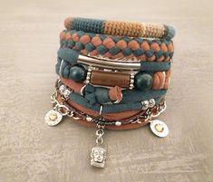 Teal and Honey Bohemian Bracelet Gypsy Bracelet Buddha Head Charm  Multistrand Bracelet Hippie Style Boho Bracelets Stack Boho Jewelry 6c1c0d18caf