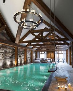 Indoor swimming pool at its best! Indoor swimming pool at its best! Indoor Swimming Pools, Swimming Pool Designs, Lap Swimming, Swimming Pool House, Dream Home Design, House Design, Moderne Pools, Luxury Pools, Dream Pools