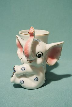 Vintage Japan Ceramic Elephant PlanterADORABLE by MidCenturyShoppe, $18.00