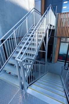 Egress stair - Monkeytoe Wood Stair Treads, Concrete Stairs, Wood Stairs, Aluminum Handrail, Melbourne Au, Platform Deck, Roof Beam, Fabric Structure, Scaffolding
