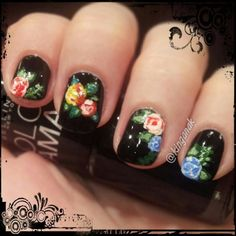 Black nails with colored rose design by Kinga | Floral Nails | Summer Nails | Flower Nails | Nail It Magazine.