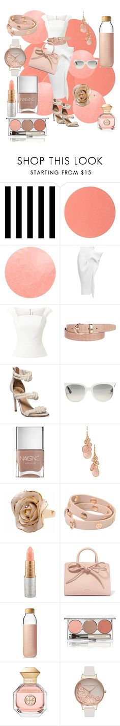"""Peaches and Cream"" by lindsaywassel ❤ liked on Polyvore featuring Tempaper, Chantecaille, Maticevski, Roland Mouret, Montblanc, Ray-Ban, Nails Inc., Avon, Hop Skip & Flutter and Tory Burch"