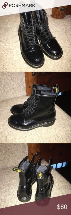 Black doc martens Black shiny patent leather doc martens. In pretty much perfect condition minus one small mark on the left boot and some minor creasing which happens after about three wears. Super cute grunge boots. My favs but need money for school 😂 make me an offer! Dr. Martens Shoes Combat & Moto Boots