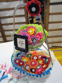 I sewed on the ball trim to a wire basket from Target (gotta love Target!) and put the other mat things from the thrift in to brind some interest Vendor Displays, Craft Booth Displays, Display Ideas, Bow Display, Stall Display, Craft Booths, Vendor Booth, Booth Ideas, Craft Stalls