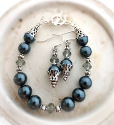 Blue grey Swarovski crystals and pearls with silver metal. Bracelet and earrings set. - Andria Bieber Designs