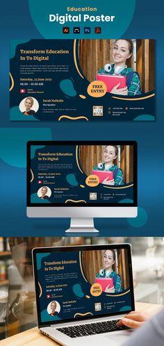 Education Digital Poster Template AI, EPS, PSD Poster Templates, Education, Digital, Onderwijs, Learning