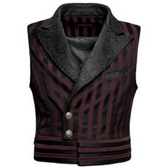 Black and Red Stripe Victorian Gothic Fashion Dress Vests for Men SKU-11401124