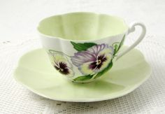 Shelley Pansy Tea Cup and Saucer, Vintage Bone China