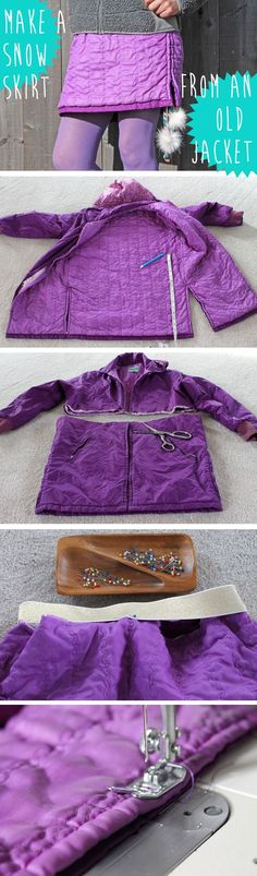 Fun project that looks cute and keeps your cozy! Cut up an old snow jacket and make it new snow skirt. Simple sewing instructions here: www.ehow.com/...