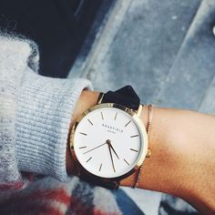 Rose gold ladies watch Tribeca - black leather strap | ROSEFIELD Watches