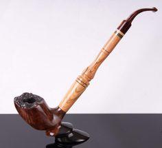 Handmade olive and briar wood pipe, original design by Mr Bróg