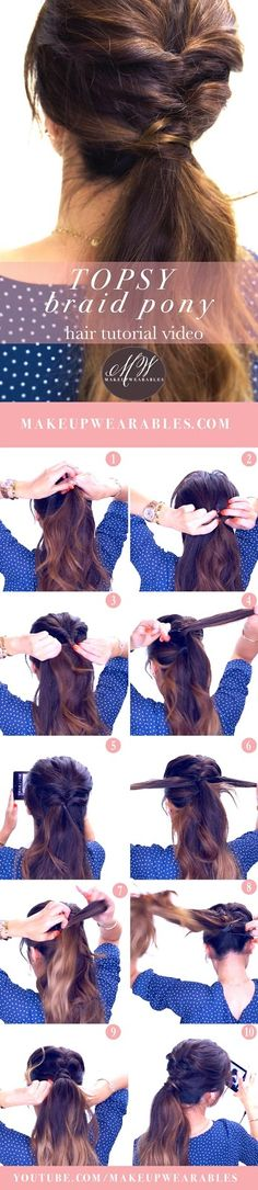 Topsy Braid Ponytail Hairstyle Tutorial