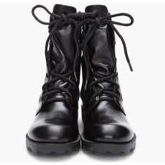 THEYSKENS' THEORY Black Atta Yvanka Combat Boots (455 AUD) ❤ liked on Polyvore featuring shoes, boots, ankle booties, black, sapatos, military lace up boots, lace up combat boots, black lace up booties, black military boots and black high tops
